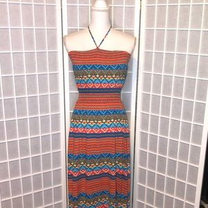 Halter tie maxi dress size medium multi color